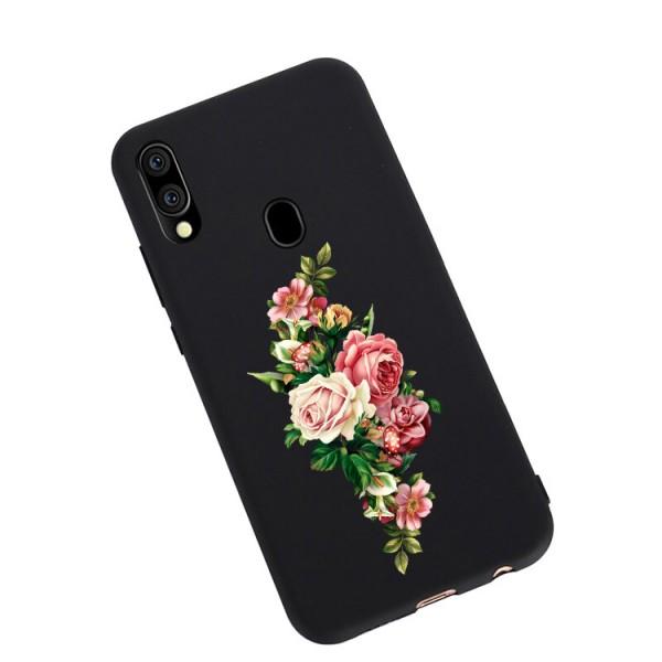Husa Silicon Soft Upzz Print Candy Compatibila Cu Samsung Galaxy A20e, Model Roses Negru imagine itelmobile.ro 2021