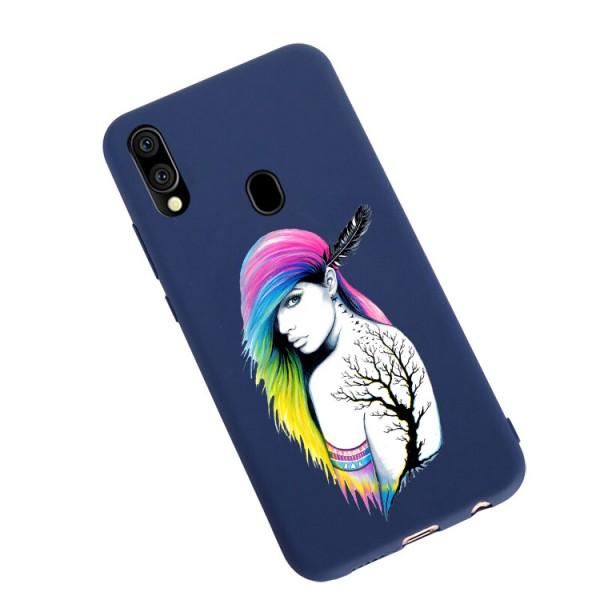 Husa Silicon Soft Upzz Print Candy Compatibila Cu Samsung Galaxy A20e, Model Tatoo Girl Albastru imagine itelmobile.ro 2021