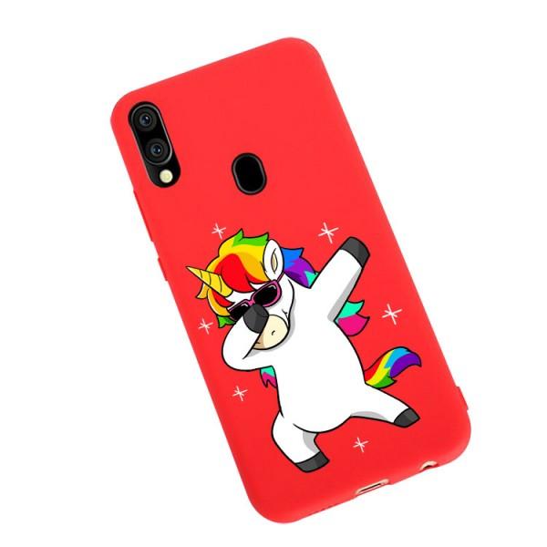 Husa Silicon Soft Upzz Print Candy Compatibila Cu Samsung Galaxy A20e, Model Unicorn Rosu imagine itelmobile.ro 2021