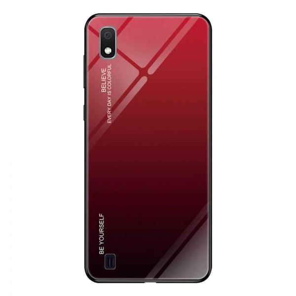 Husa Spate Upzz Gradient Glass Pentru Samsung Galaxy A10 ,spate Sticla Rezistenta , Negru Rosu imagine itelmobile.ro 2021