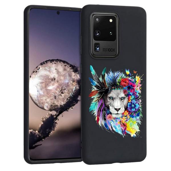 Husa Silicon Soft Upzz Print Candy Compatibila Cu Samsung Galaxy S20 Ultra, Model Flower Lion Negru imagine itelmobile.ro 2021