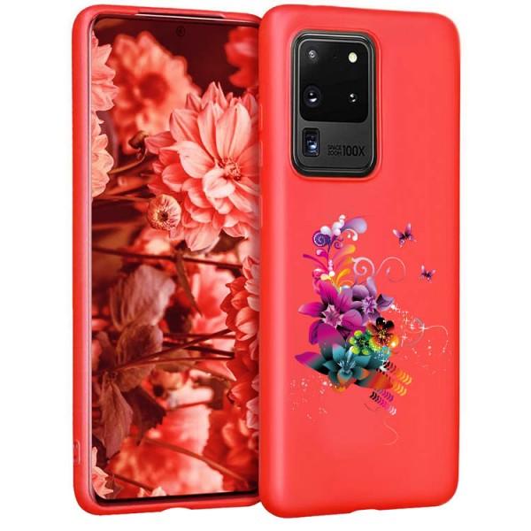 Husa Silicon Soft Upzz Print Candy Compatibila Cu Samsung Galaxy S20 Ultra, Model Flower Pattern Rosu imagine itelmobile.ro 2021