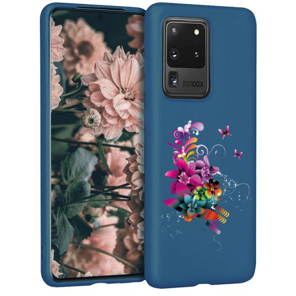 Husa Silicon Soft Upzz Print Candy Compatibila Cu Samsung Galaxy S20 Ultra, Model Flower Pattern Albastru imagine itelmobile.ro 2021