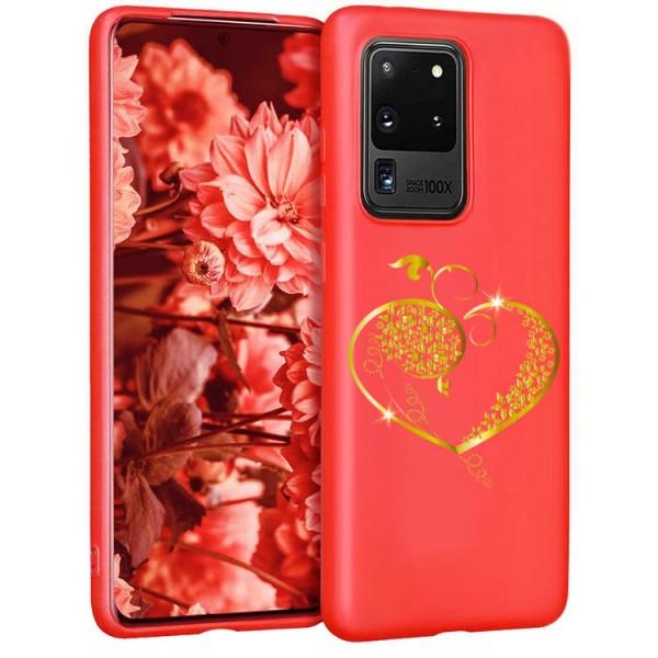Husa Silicon Soft Upzz Print Candy Compatibila Cu Samsung Galaxy S20 Ultra, Model Gold Heart Rosu imagine itelmobile.ro 2021