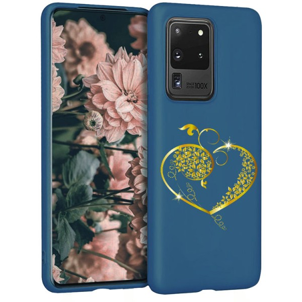 Husa Silicon Soft Upzz Print Candy Compatibila Cu Samsung Galaxy S20 Ultra, Model Gold Heart Albastru imagine itelmobile.ro 2021