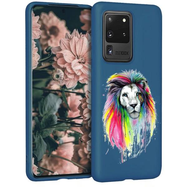 Husa Silicon Soft Upzz Print Candy Compatibila Cu Samsung Galaxy S20 Ultra, Model Multicolor Lion Albastru imagine itelmobile.ro 2021