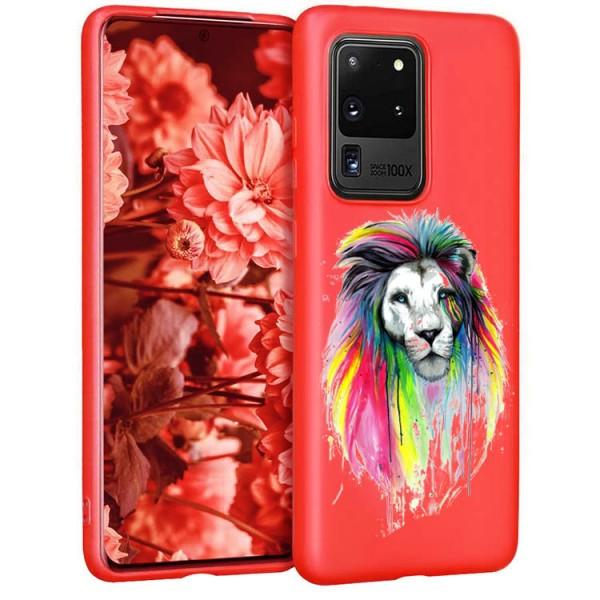 Husa Silicon Soft Upzz Print Candy Compatibila Cu Samsung Galaxy S20 Ultra, Model Multicolor Lion Rosu imagine itelmobile.ro 2021