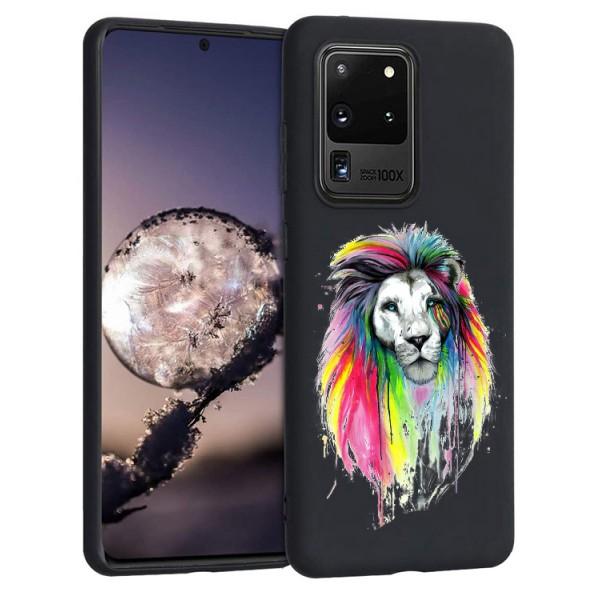 Husa Silicon Soft Upzz Print Candy Compatibila Cu Samsung Galaxy S20 Ultra, Model Multicolor Lion Negru imagine itelmobile.ro 2021