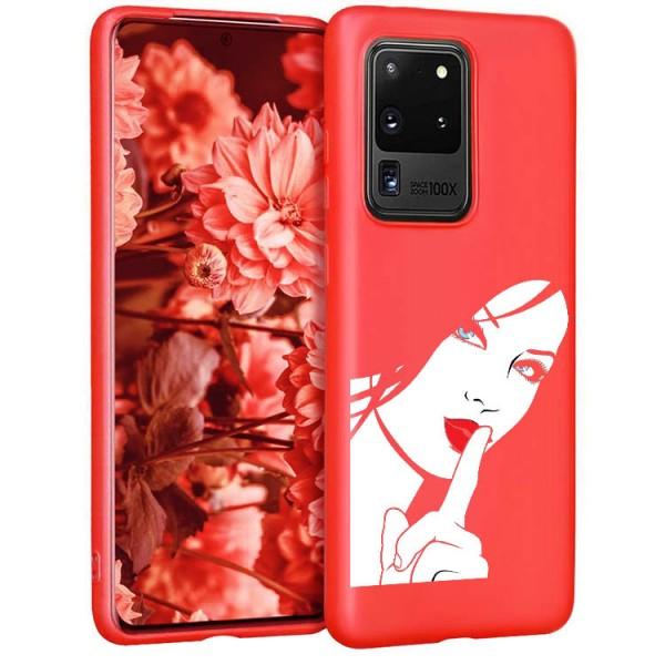 Husa Silicon Soft Upzz Print Candy Compatibila Cu Samsung Galaxy S20 Ultra, Model Red Lips Blue Eyes Rosu imagine itelmobile.ro 2021