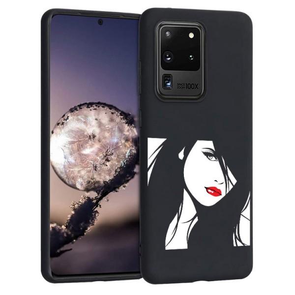 Husa Silicon Soft Upzz Print Candy Compatibila Cu Samsung Galaxy S20 Ultra, Model Red Lips Negru imagine itelmobile.ro 2021