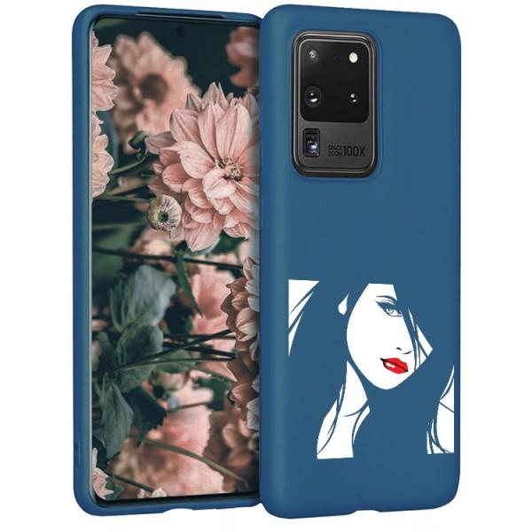 Husa Silicon Soft Upzz Print Candy Compatibila Cu Samsung Galaxy S20 Ultra, Model Red Lips Albastru imagine itelmobile.ro 2021