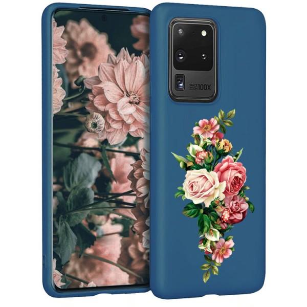 Husa Silicon Soft Upzz Print Candy Compatibila Cu Samsung Galaxy S20 Ultra, Model Roses Albastru imagine itelmobile.ro 2021