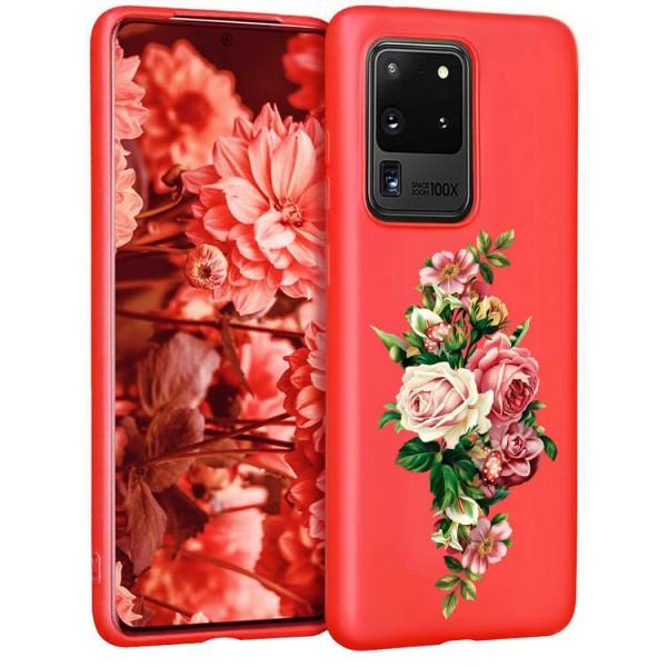 Husa Silicon Soft Upzz Print Candy Compatibila Cu Samsung Galaxy S20 Ultra, Model Roses Rosu imagine itelmobile.ro 2021