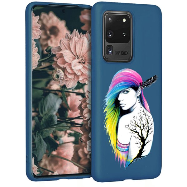 Husa Silicon Soft Upzz Print Candy Compatibila Cu Samsung Galaxy S20 Ultra, Model Tatoo Girl Albastru imagine itelmobile.ro 2021