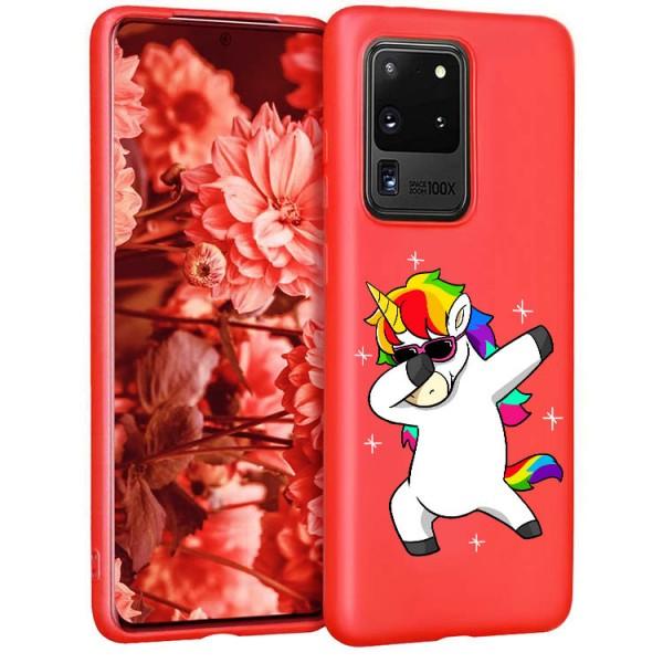 Husa Silicon Soft Upzz Print Candy Compatibila Cu Samsung Galaxy S20 Ultra, Model Unicorn Rosu imagine itelmobile.ro 2021