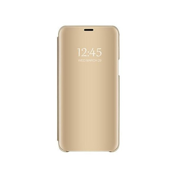 Pachet Husa Tip Carte Mirror Samsung Galaxy M21, Gold Cu Folie Sticla Upzz Glass Inclusa In Pachet imagine itelmobile.ro 2021