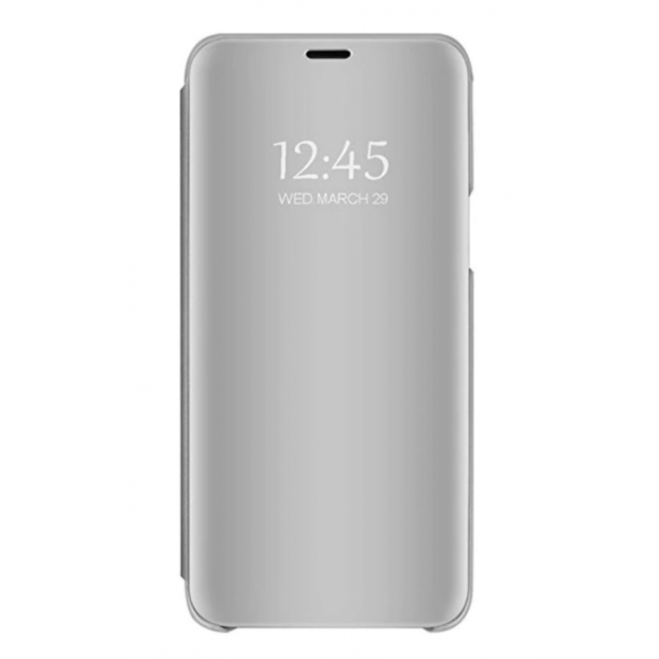 Pachet Husa Tip Carte Mirror Samsung Galaxy M21, Silver Cu Folie Sticla Upzz Glass Inclusa In Pachet imagine itelmobile.ro 2021
