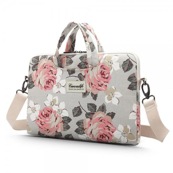 Husa Upzz Tech Briefcase Canvaslife Compatibila Cu Laptop / Macbook 15-16 Inch White Rose imagine itelmobile.ro 2021