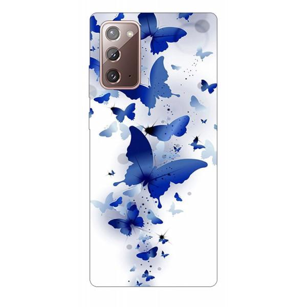 Husa Silicon Soft Upzz Print Samsung Galaxy Note 20 Model Blue Butterflies imagine itelmobile.ro 2021