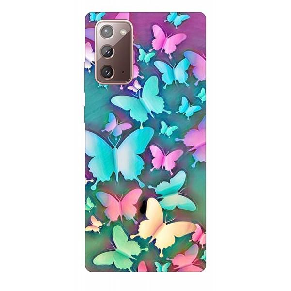 Husa Silicon Soft Upzz Print Samsung Galaxy Note 20 Modelcolorfull Butterflies imagine itelmobile.ro 2021