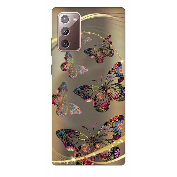 Husa Silicon Soft Upzz Print Samsung Galaxy Note 20 Model Golden Butterfly imagine itelmobile.ro 2021