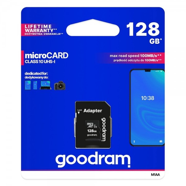 Card Microsd Goodram 128gb Uhs-i ,clasa 10 ,adaptor Sd imagine itelmobile.ro 2021
