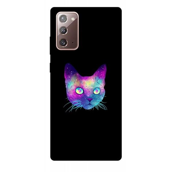 Husa Silicon Soft Upzz Print Samsung Galaxy Note 20 Model Neon Cat imagine itelmobile.ro 2021