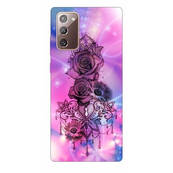 Husa Silicon Soft Upzz Print Samsung Galaxy Note 20 Model Neon Rose imagine itelmobile.ro 2021