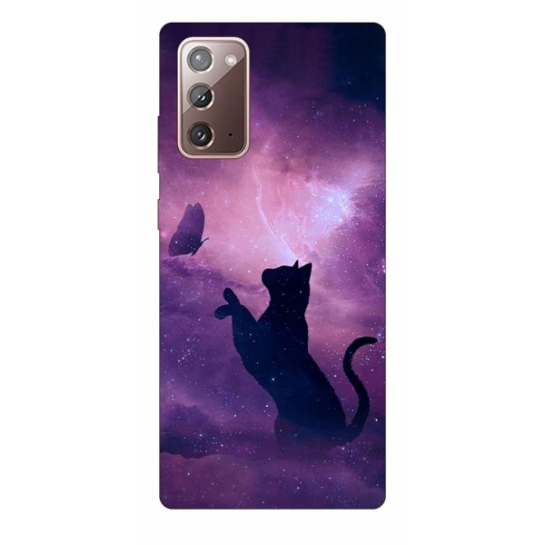 Husa Silicon Soft Upzz Print Samsung Galaxy Note 20 Model Shadow Cat imagine itelmobile.ro 2021