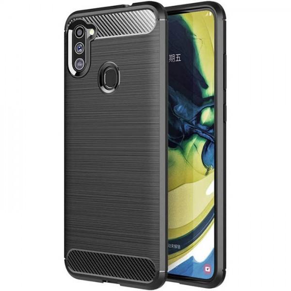 Husa Spate Upzz Carbon Pro Samsung Galaxy M11 , Negru imagine itelmobile.ro 2021