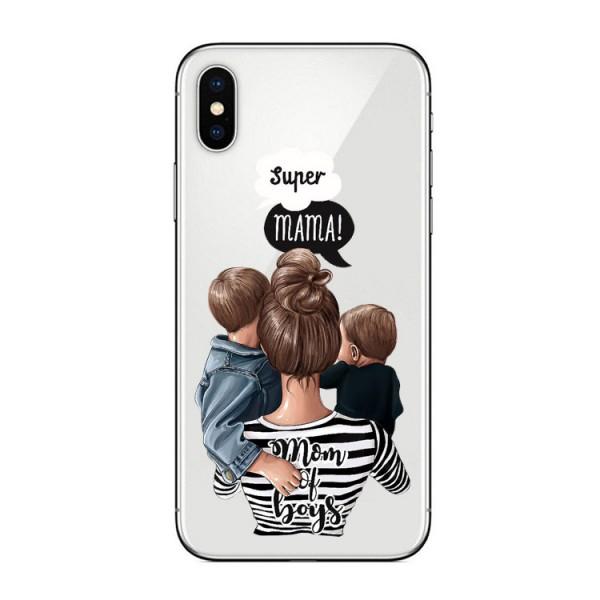 Husa Silicon Soft Upzz Print iPhone X / Xs Model Mom2 imagine itelmobile.ro 2021