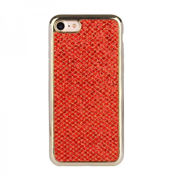 Husa Lux Fashion Glitter iPhone 6/6s Red Gold imagine itelmobile.ro 2021