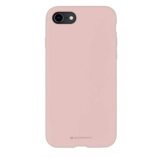 Husa Spate Mercury Silicone iPhone Se 2 ( 2020 ) ,cu Interior Alcantara ,roz Sand imagine itelmobile.ro 2021