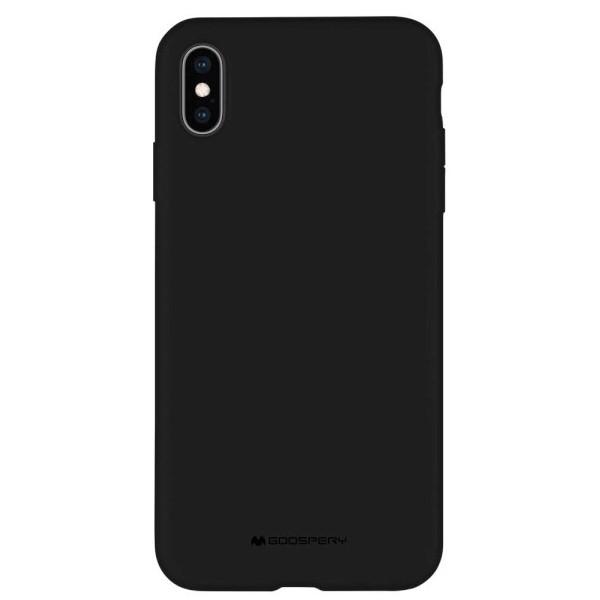Husa Spate Mercury Silicone iPhone X / Xs ,cu Interior Alcantara ,negru imagine itelmobile.ro 2021