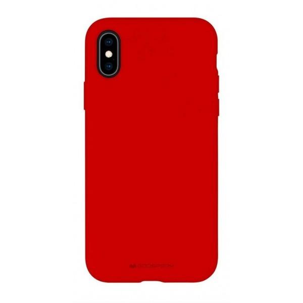 Husa Spate Mercury Silicone iPhone X / Xs ,cu Interior Alcantara ,rosu imagine itelmobile.ro 2021