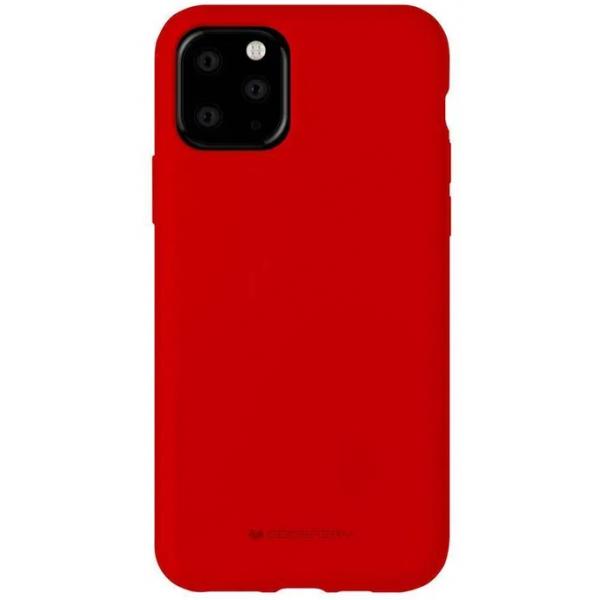 Husa Spate Mercury Silicone iPhone 11 Pro Max ,cu Interior Alcantara ,rosu imagine itelmobile.ro 2021