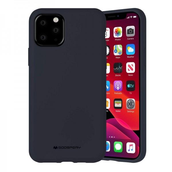 Husa Spate Mercury Silicone iPhone 11 Pro Max ,cu Interior Alcantara ,navy Albastru imagine itelmobile.ro 2021