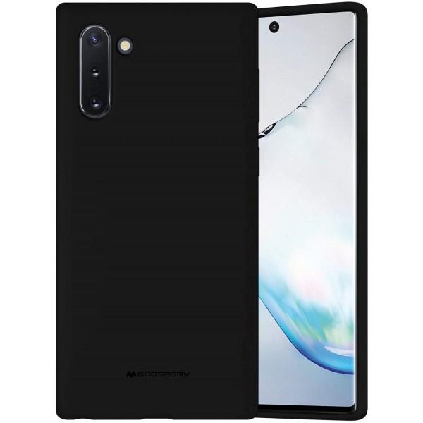 Husa Spate Mercury Silicone Samsung Galaxy Note 10 ,cu Interior Alcantara ,negru imagine itelmobile.ro 2021