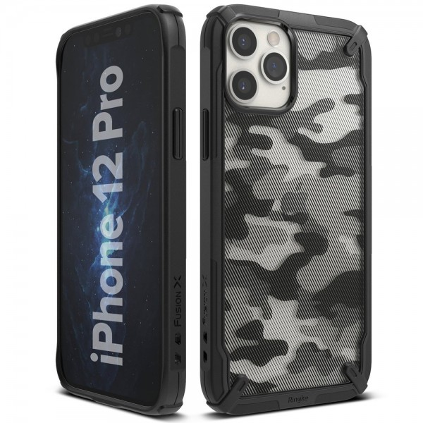 Husa Premium Ringke Fusion X Compatibila Cu iPhone 12 / iPhone 12 Pro ,camo imagine itelmobile.ro 2021