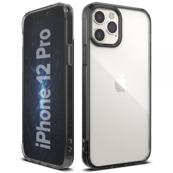 Husa Premium Ringke Fusion X Compatibila Cu iPhone 12 / iPhone 12 Pro ,transparenta Cu Rama Fumurie imagine itelmobile.ro 2021