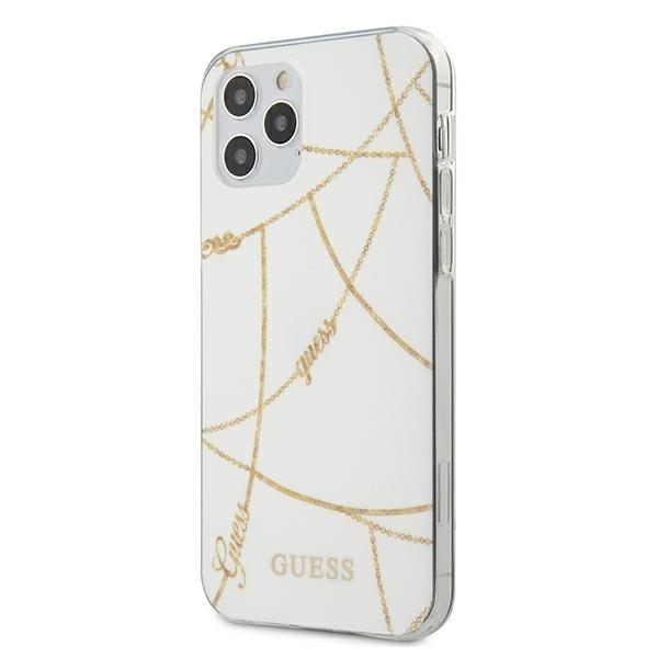 Husa Premium Originala Guess Compatibila Cu iPhone 12 Pro Max ,colectia Gold Chain, Alb -guhcp12lpcuchwh imagine itelmobile.ro 2021
