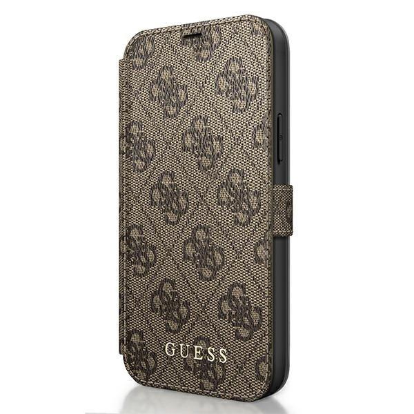Husa Premium Originala Guess Tip Carte iPhone 12 Mini ,colectia Charm , Maro -guflbksp12s4gb imagine itelmobile.ro 2021