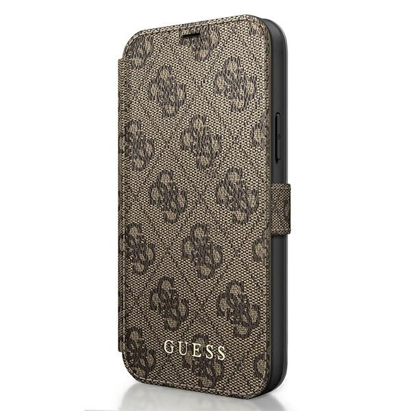 Husa Premium Originala Guess Tip Carte iPhone 12 / iPhone 12 Pro ,colectia Charm , Maro - Guflbksp12m4gb imagine itelmobile.ro 2021