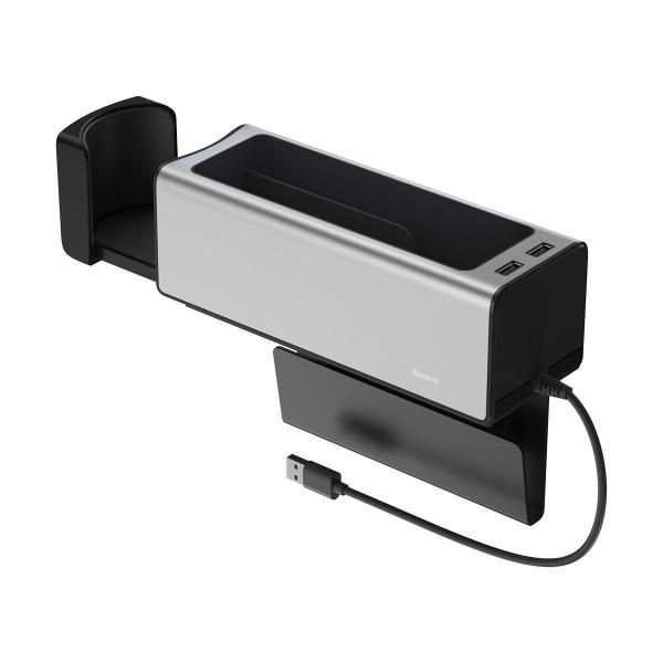 Organizator Masina Baseus 2 X Usb Cu Incarcare Telefon ,suport Pahar Silver - Crcwh-a0s imagine itelmobile.ro 2021