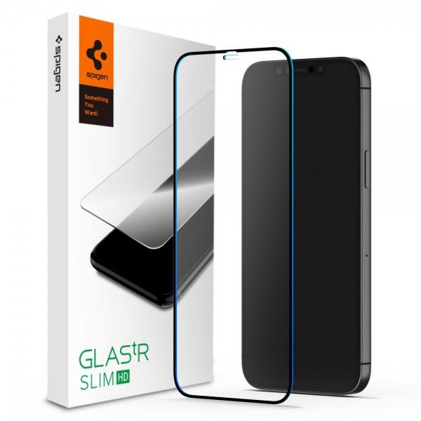 Folie Premium Tempered Glass Spigen Glass Tr Slim iPhone 12 / iPhone 12 Pro ,full Cover -transparenta -agl01512 imagine itelmobile.ro 2021