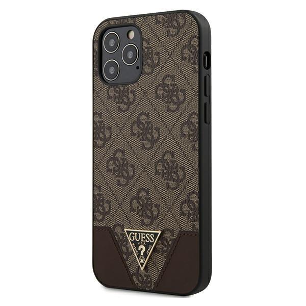 Husa Premium Originala Guess iPhone 12 / iPhone 12 Pro ,colectia Triangle ,maro - Guhcp12mpu4ghbr imagine itelmobile.ro 2021