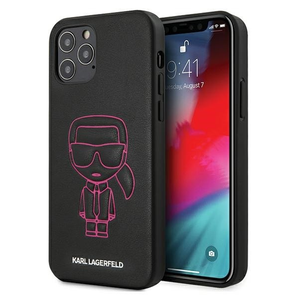 Husa Premium Karl Lagerfeld iPhone 12 / iPhone 12 Pro ,colectia Karl Ikonik Outline ,negru/roz - Klhcp12mpcuikpi imagine itelmobile.ro 2021