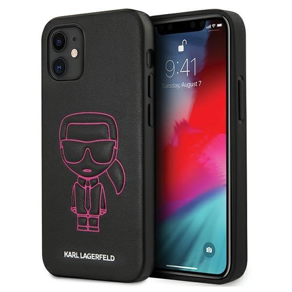 Husa Premium Karl Lagerfeld iPhone 12 Mini ,colectia Karl Ikonik Outline ,negru / Roz - Klhcp12spcuikpi imagine itelmobile.ro 2021
