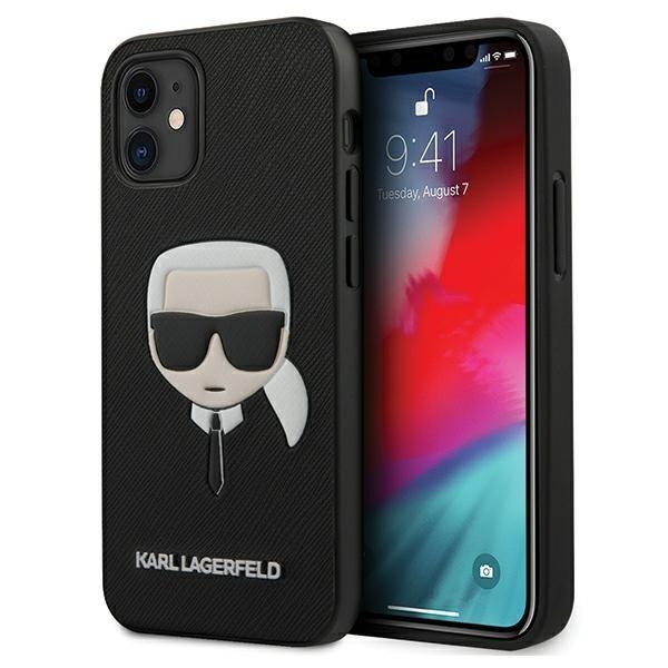 Husa Premium Karl Lagerfeld iPhone 12 Mini ,colectia Saffiano Ikonik Karl Head ,negru / Roz - Klhcp12ssakhbk imagine itelmobile.ro 2021