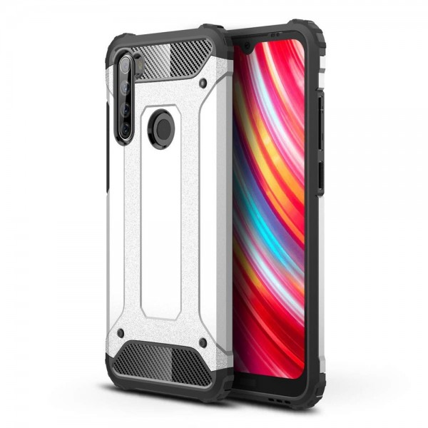 Husa Spate Upzz Hybrid Armor Xiaomi Redmi Note 8t , Silver imagine itelmobile.ro 2021